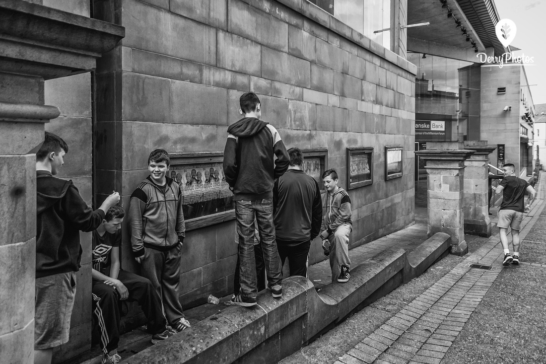 lads at millenium forum - Street Photography