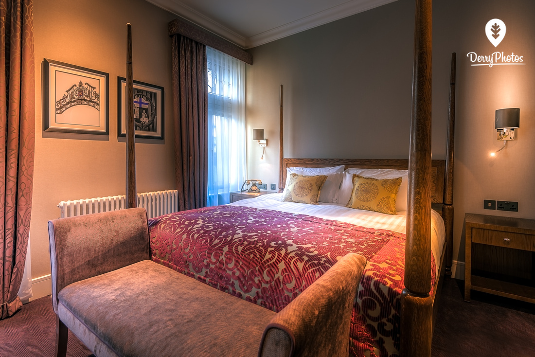 Interior design photography for Bishops gate hotel Derry - Luxurious bedroom with 4 poster bed