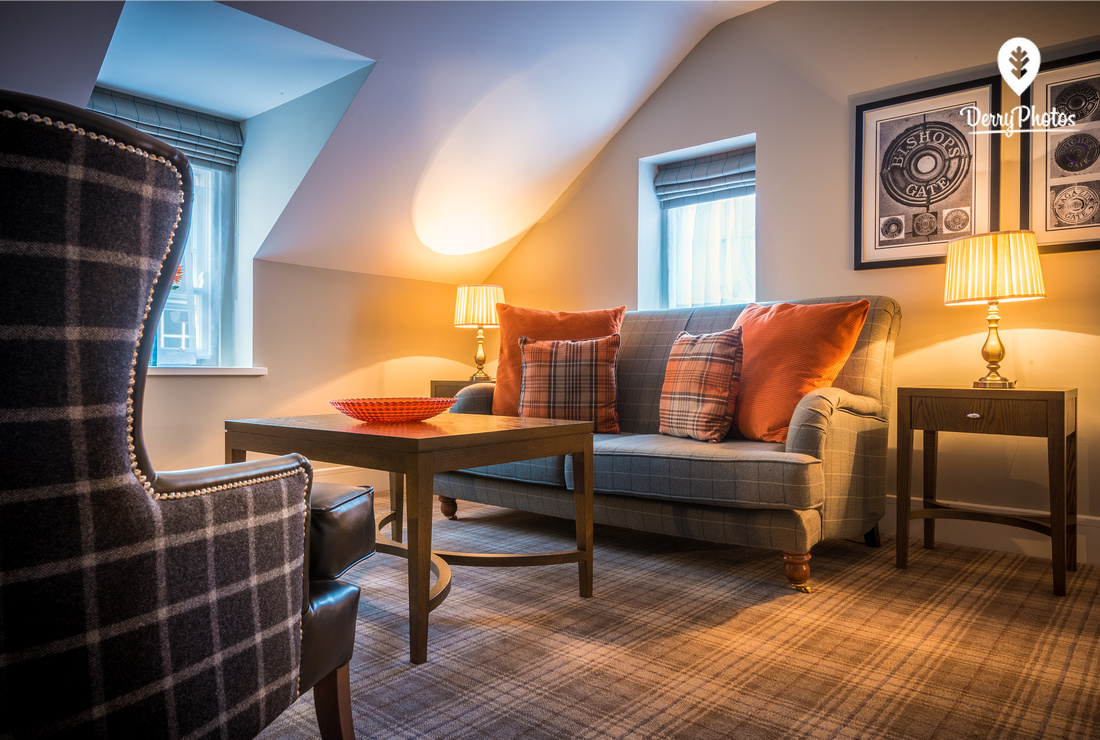 Interior design photography for the boutiqe hotel in Derry city Northern Ireland - Bishops Gate hotel