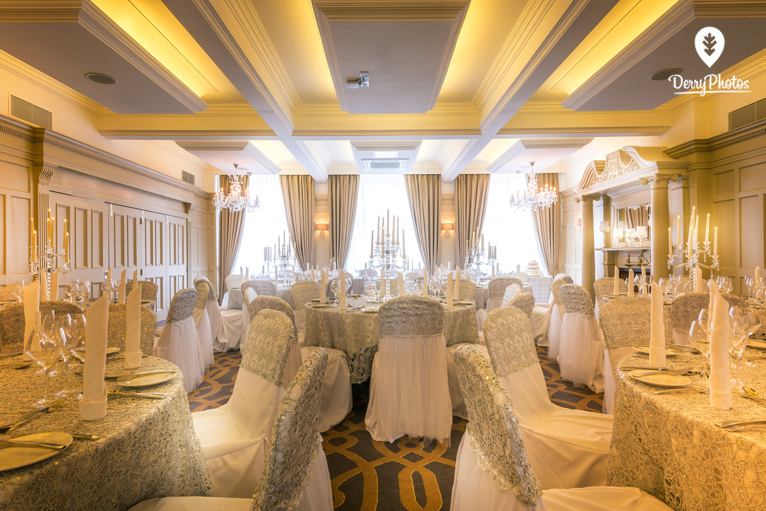Interior photography for a wedding setup at Bishops Gate hotel Derry