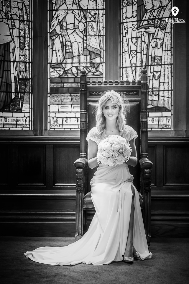 Olivia Doherty Wearing dresses by the Bridal Showroom at the Guildhall Derry Wedding venue.