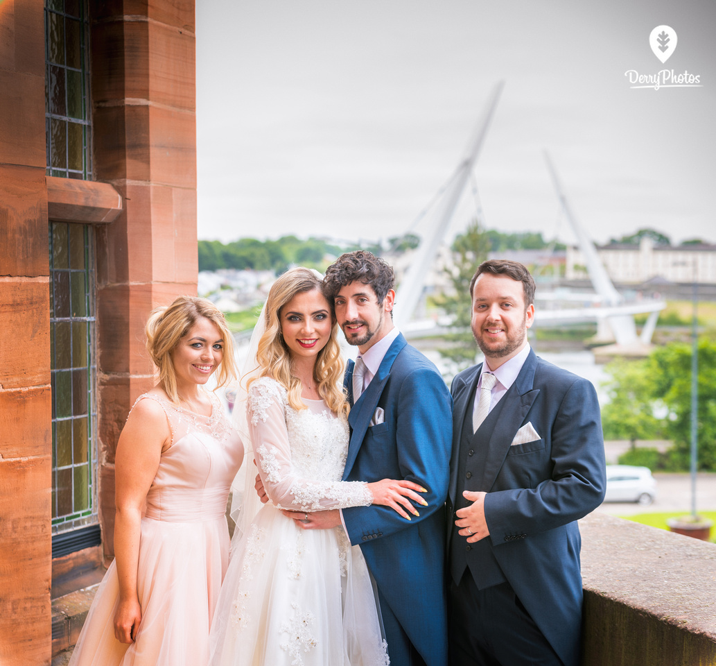 Amy Dillon, Olivia Doherty, Emmette Dillon, Declan, dresses by the Bridal Showroom, Suits by The Black Tie Showroom at the Guildhall Derry Wedding venue.