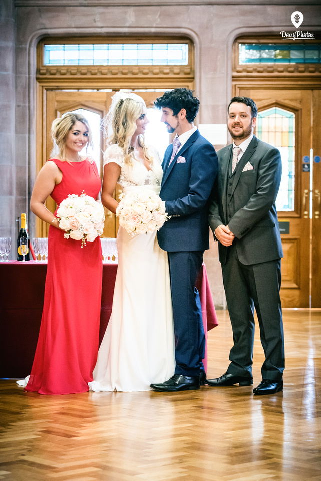 Amy Dillon, Olivia Doherty, Emmette Dillon, Declan Shiels, dresses by the Bridal Showroom, Suits by The Black Tie Showroom at the Guildhall Derry Wedding venue.