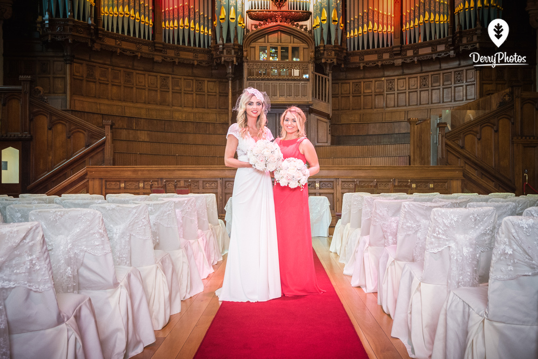 Amy Dillon, Olivia Doherty, dresses by the Bridal Showroom, at the Guildhall Derry Wedding venue.