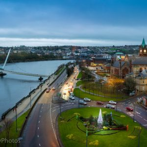 Peace Bridge on the Foyle with the guildhall in view