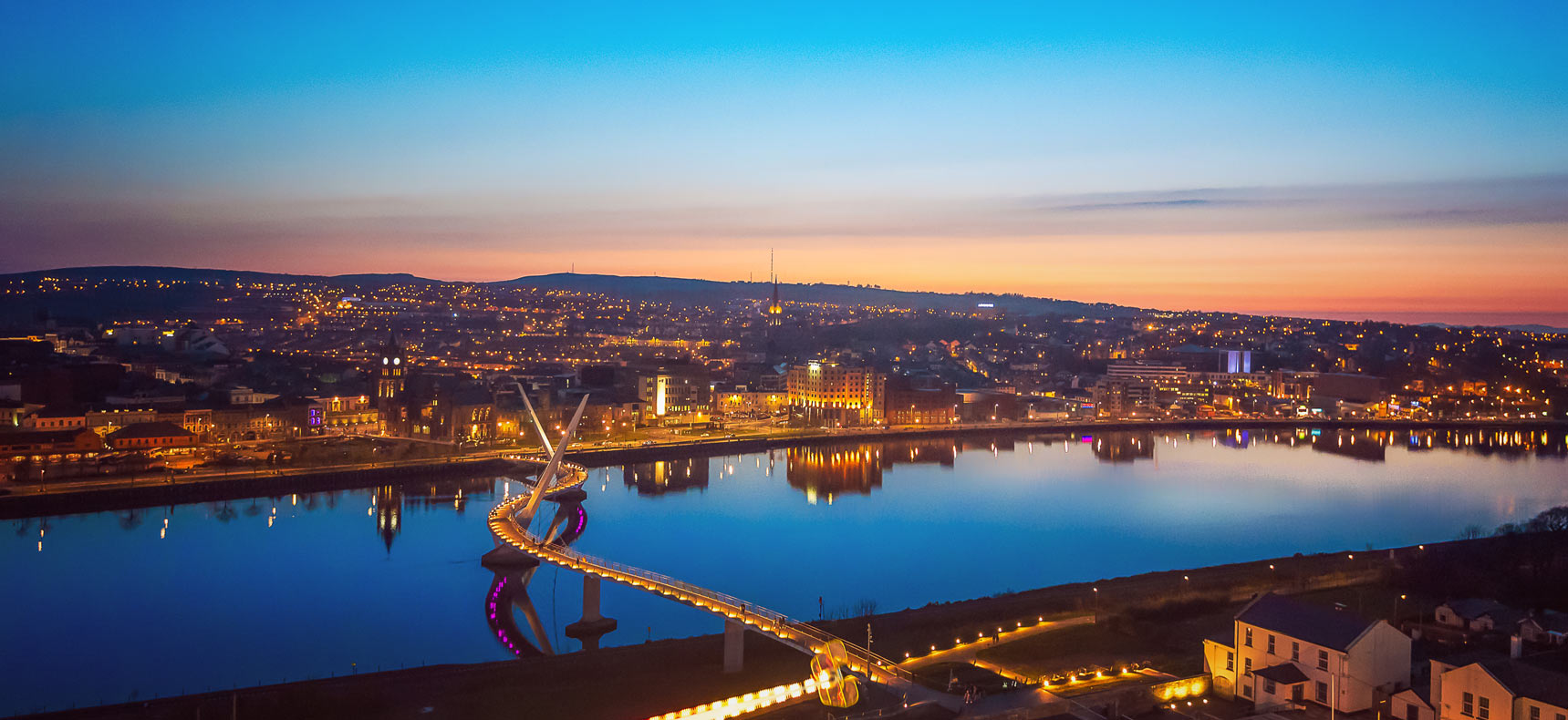 Derry city river foyle and peace bridge