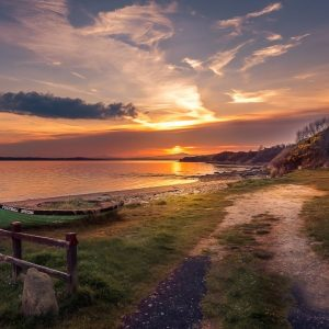Print of Mill Bay Inch Island Donegal