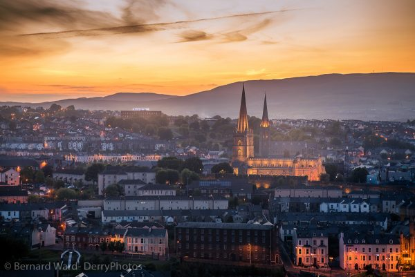 two spires of derry - sunset on Derry