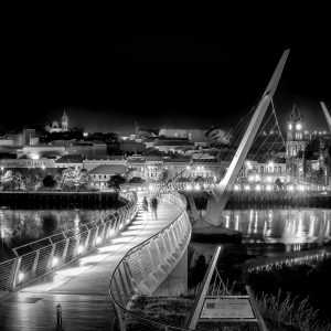 The Peace Bridge Derry in Black and white print