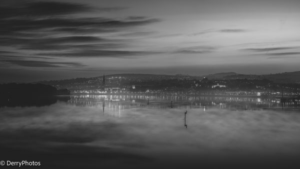 River Foyle Reflections Black and White Print