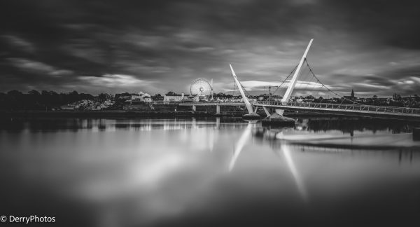 River Foyle and Peace Bridge Derry - Black and White Print